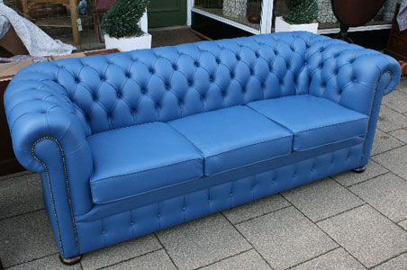 Dark Navy Blue, Traditional Chesterfield Suite.